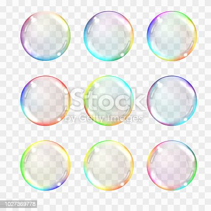 Set of multicolored transparent glass spheres. Transparency only in vector format. Can be used with any background. Realistic vector illustration.