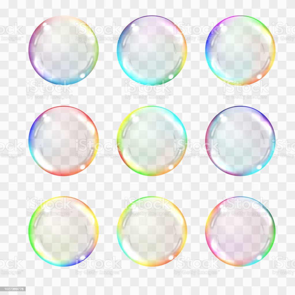 Set of multicolored transparent glass spheres. Transparency only in vector format. Can be used with any background. Realistic vector illustration. vector art illustration