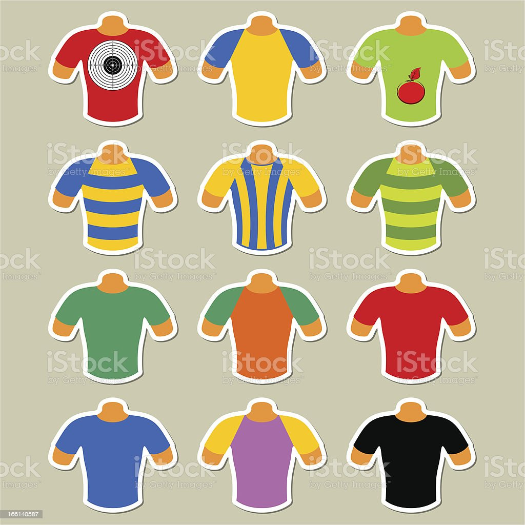 Set of multicolored t-shirts royalty-free set of multicolored tshirts stock vector art & more images of apple - fruit