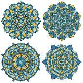 Set of Multicolored Vector Mandala.