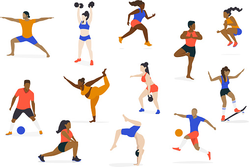 Set of Multicultural Athletes and Healthy Active People doing yoga, running, jumping, stretching, playing soccer, lifting weights and skateboarding - Diversity Character Concept