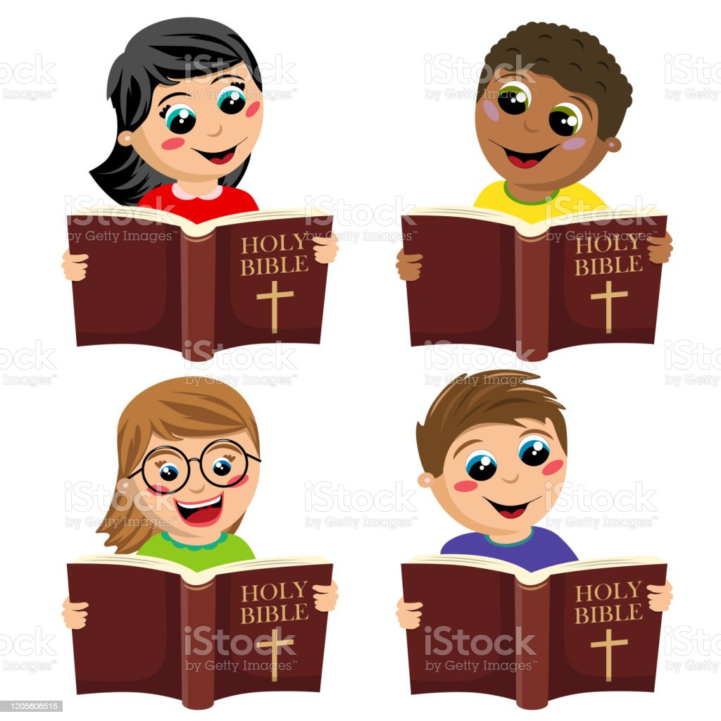 Set Of Multicultural Happy Kids Reading Holy Bible Book Isolated On White Stock Illustration Download Image Now Istock