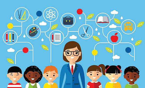 ilustrações, clipart, desenhos animados e ícones de conjunto de multicultural professor e aluno com discurso bolhas de diálogo - professor de pré escola
