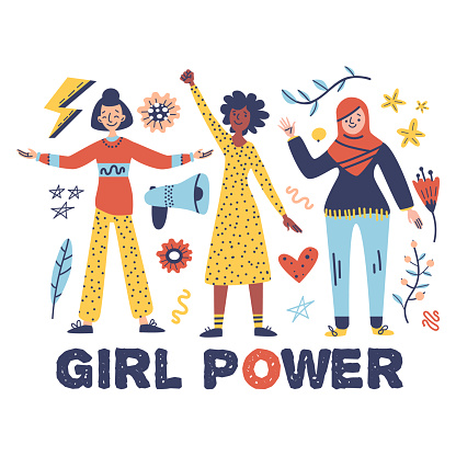 Set of multicultural women. Concept of gender equality, feminism, diverse, equality movement. Vector illustration: women, text - girl power. International Women's Day. Perfect for card, poster, web
