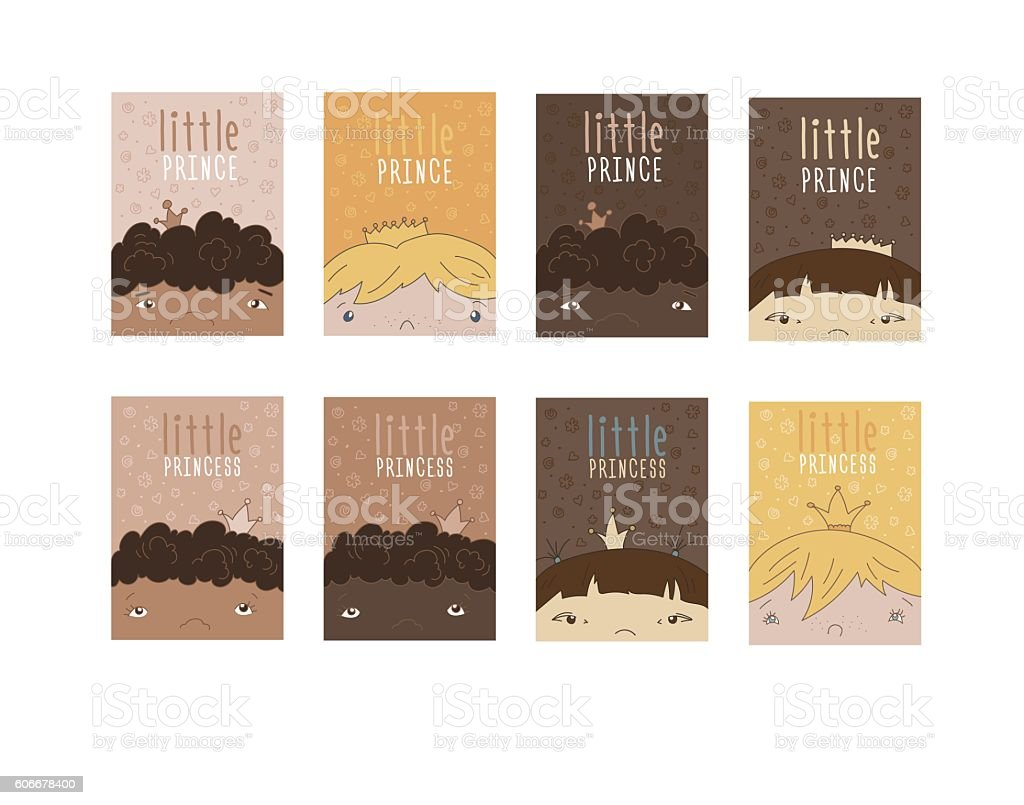 Set Of Multiethnical Children vector art illustration