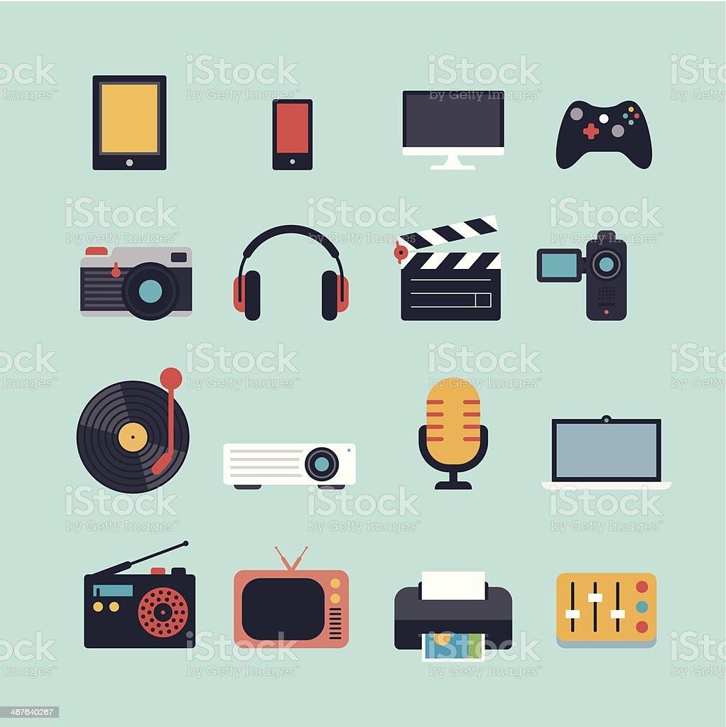 Conjunto de ícones de multimídia plana - Vetor de Agenda Eletrônica royalty-free