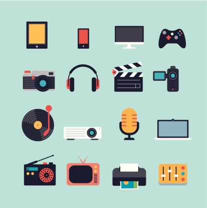 Vetores de Conjunto De Ícones De Multimídia Plana e mais imagens de Agenda Eletrônica