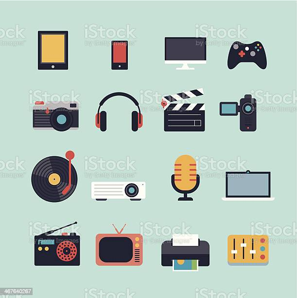 Set Of Multimedia Flat Icons Stock Illustration - Download Image Now
