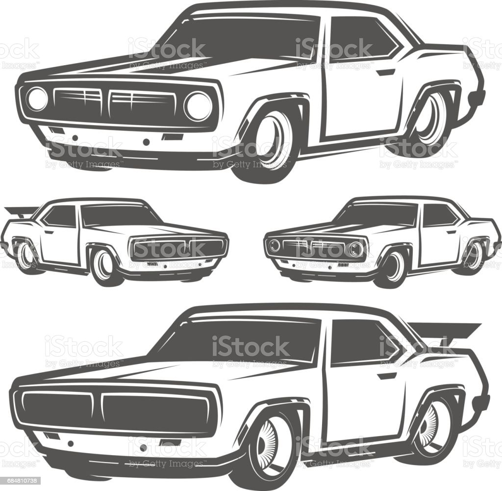 Set Of Muscle Car For Icon And Emblemsretro And Vintage Styledrag ...