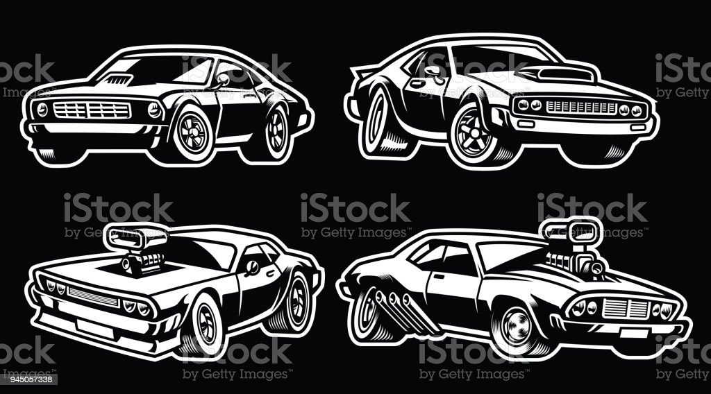 Set Of Muscle Car Stock Vector Art More Images Of American Culture