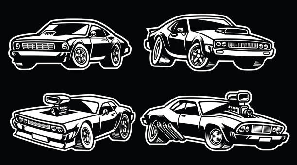 set of muscle car vector of set of muscle car sports car stock illustrations