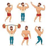 Set of muscular, bearded mans vector illustration. Fitness models, posing, bodybuilding. Isolated on white background