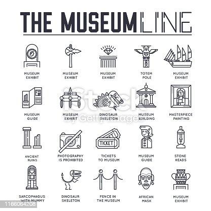 Set of museum building and objects thin line icons isolated on white. Exposition artifacts and employee outline pictograms collection. Exhibition hall, tour guide vector elements for infographic, web.