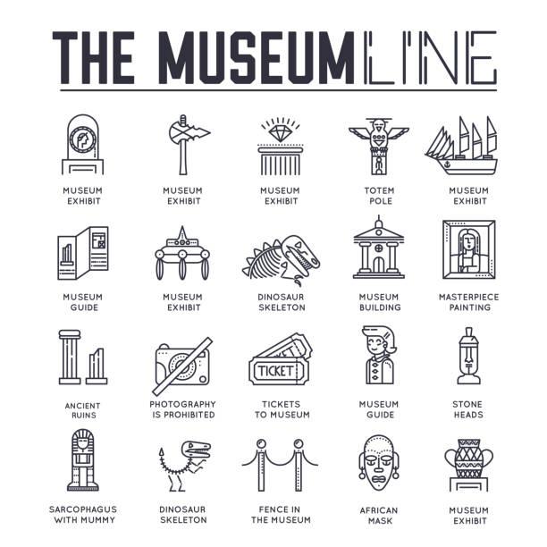 illustrazioni stock, clip art, cartoni animati e icone di tendenza di set di edifici museali e oggetti icone linea sottile. - totem fair