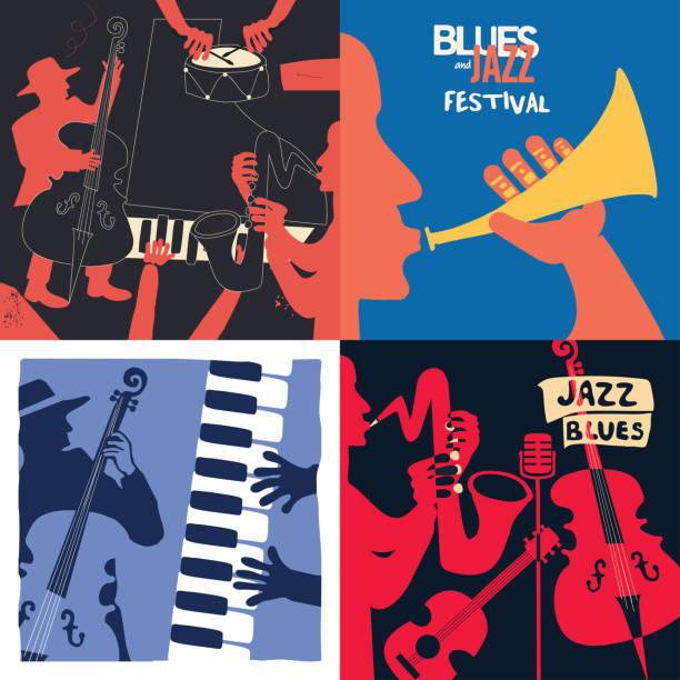 satz von musikkarten und banner - blues stock-grafiken, -clipart, -cartoons und -symbole