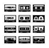 VIntage stereo recorder tape or retro music cassette from 80s - 90s ages black and white monochrome icons set, vector illustration isolated on white background.