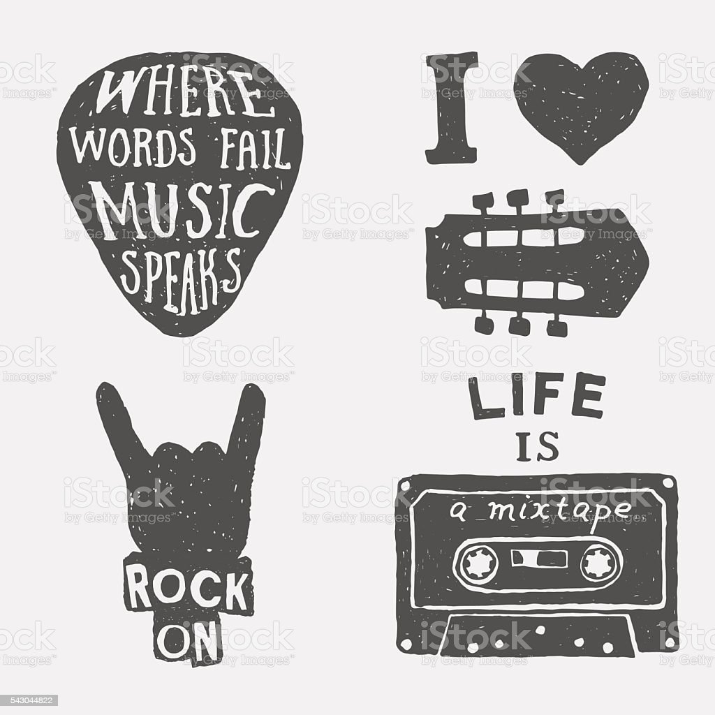 set of music hand drawn typography posters, emblems and quotes. vector art illustration
