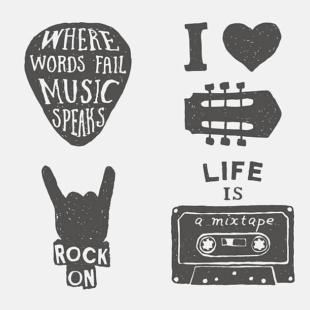 Conjunto de música dibujado a mano la tipografía pósters, emblemas y presupuestos. - ilustración de arte vectorial
