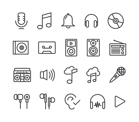 Set of Music Icons Vector Editable Stroke. 48x48 Pixel Perfect.