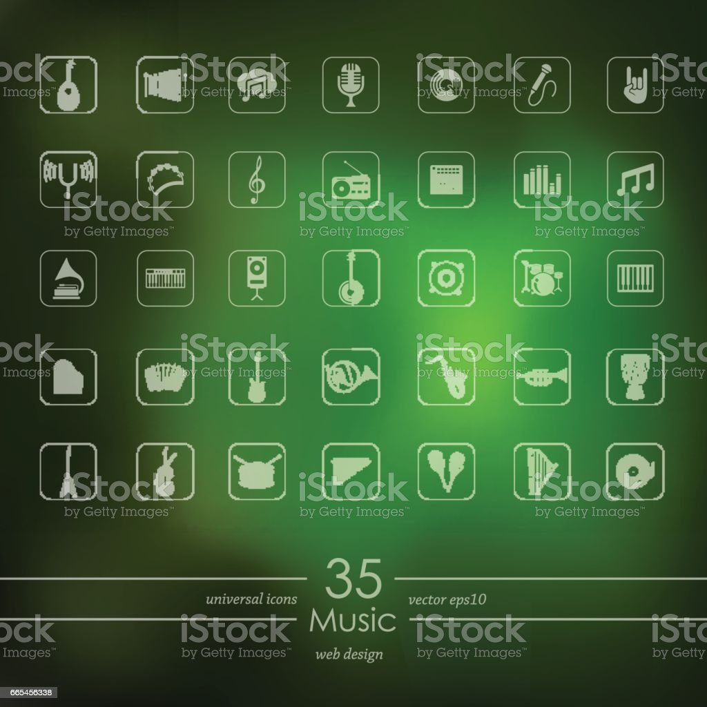 Set of music icons vector art illustration