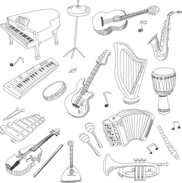 stockillustraties, clipart, cartoons en iconen met set of music instruments - hand drawn vector - tamboerijn