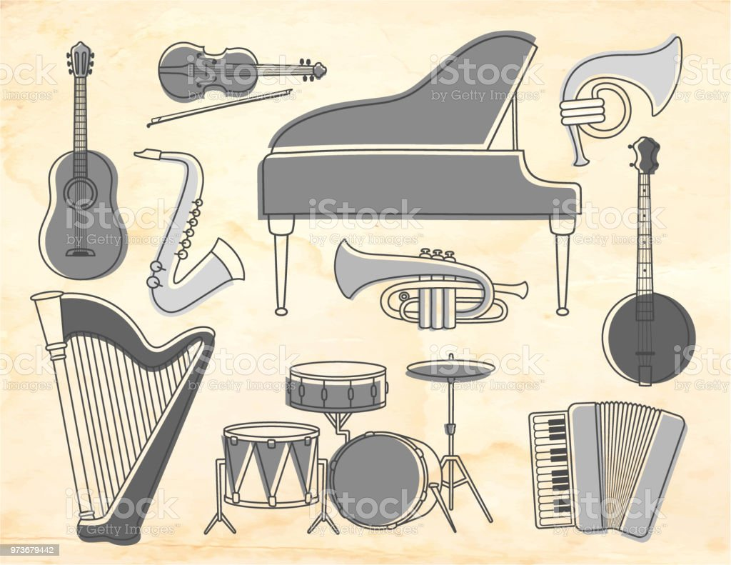 Set Of Music Instruments On An Old Paper Background Retro