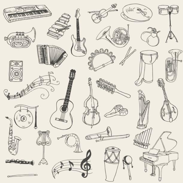 illustrations, cliparts, dessins animés et icônes de ensemble d'instruments de musique - instrument de musique