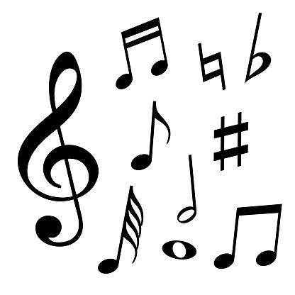 Set Of Music Notes - Stockowe grafiki wektorowe i więcej obrazów Bez ludzi