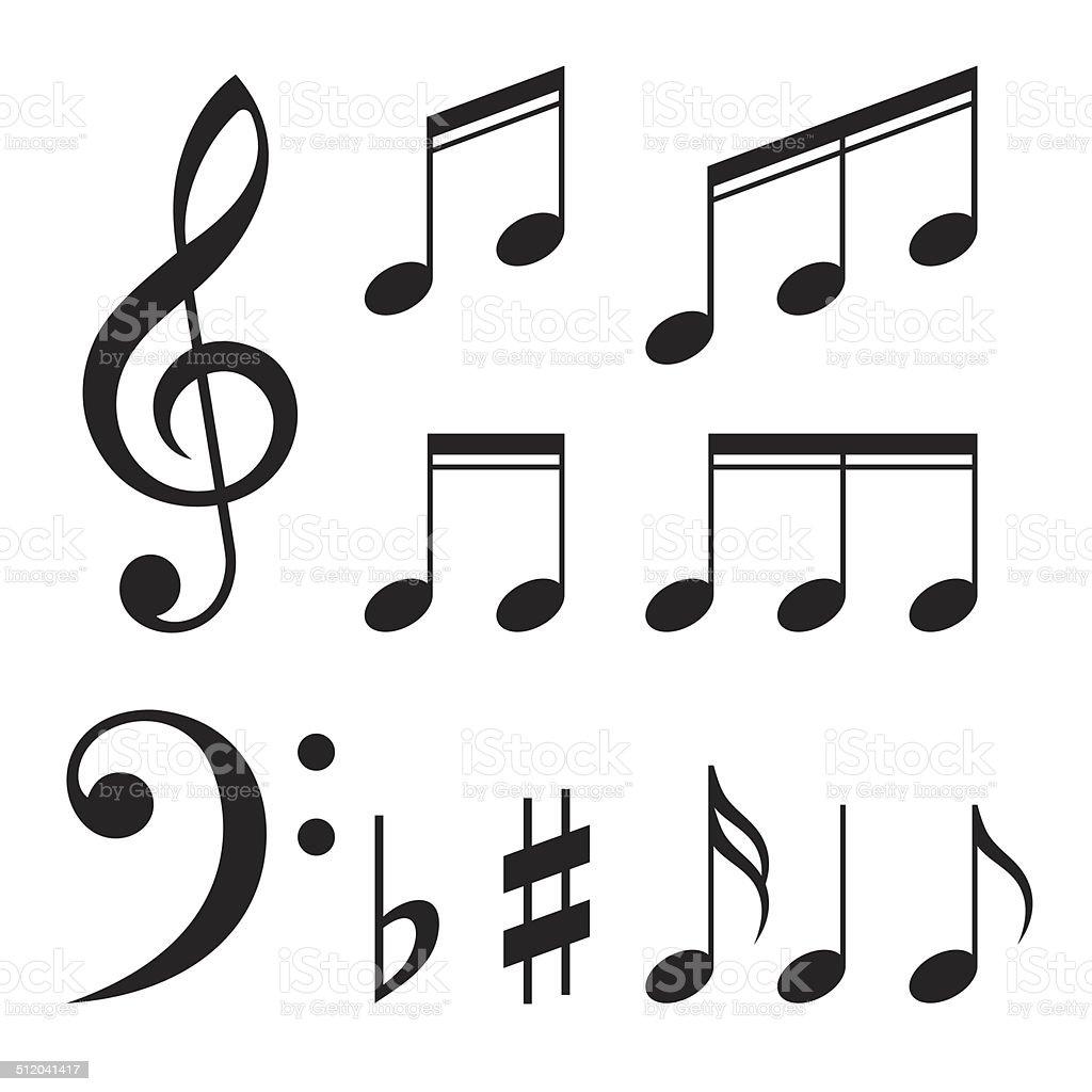 Set of music notes vector vector art illustration
