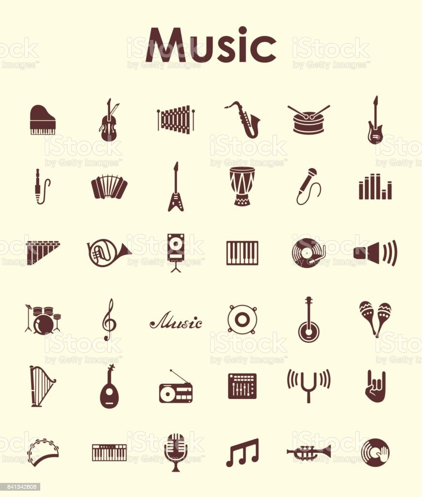 Set of music simple icons vector art illustration