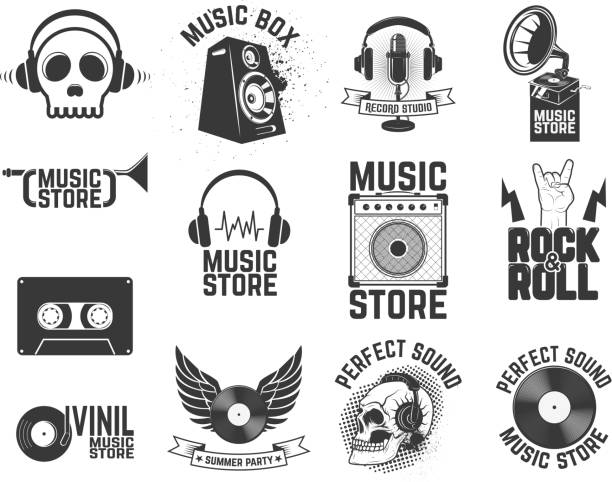 set of  music store labels. design elements for logo, label, - record analog audio stock illustrations