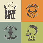 Set of music store labels isolated on colorful background