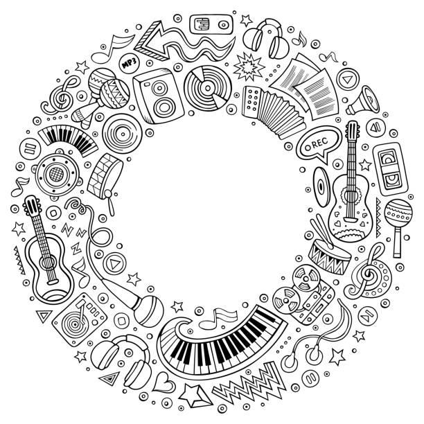 Reihe von musikalischen Cartoon Doodle Objekte, Symbole und Elemente – Vektorgrafik