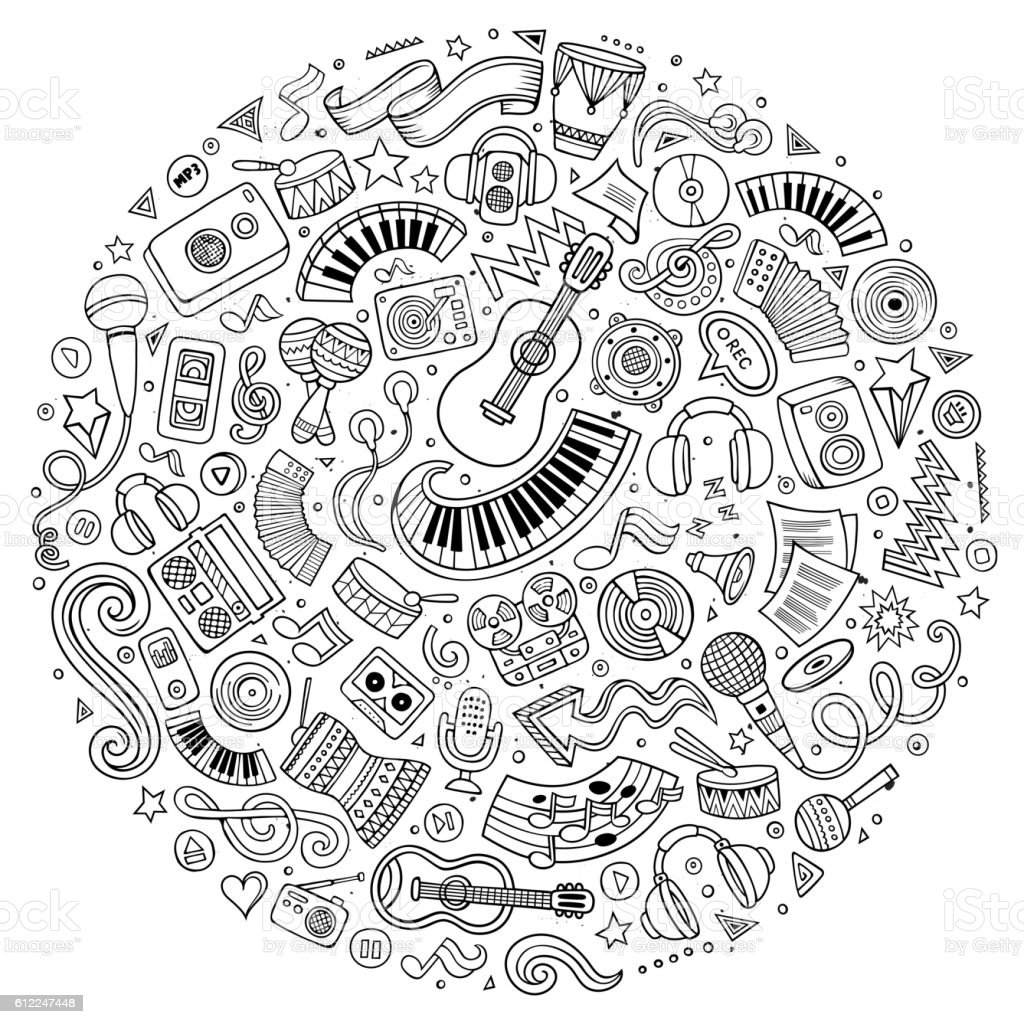Set of Musical cartoon doodle objects vector art illustration