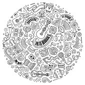 Line art vector hand drawn set of Musical cartoon doodle objects, symbols and items. Round composition