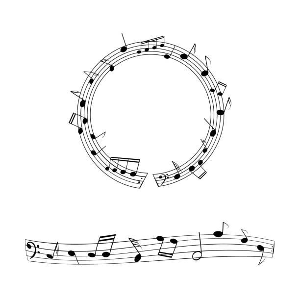 satz von musikalischen bordüren. - musiksymbole stock-grafiken, -clipart, -cartoons und -symbole