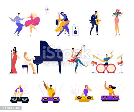 istock Set of Musical Hobbies and Entertainment. Happy Male and female Characters Dancing on Party, Classical and Rock Music Band Performing, Dj Mixing Beats in Bight Club Cartoon Flat Vector Illustration 1170092467