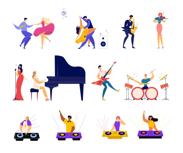 stockillustraties, clipart, cartoons en iconen met set van muzikale hobby's en entertainment. gelukkige mannelijke en vrouwelijke personages dansen op partij, klassieke en rock muziek band uitvoeren, dj mengen beats in bight club cartoon platte vector illustratie - saxofoon