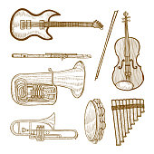 Set of Musical Instruments. Collection in Hand Drawn Style for Surface Design Fliers Prints Cards Banners. Vector Illustration