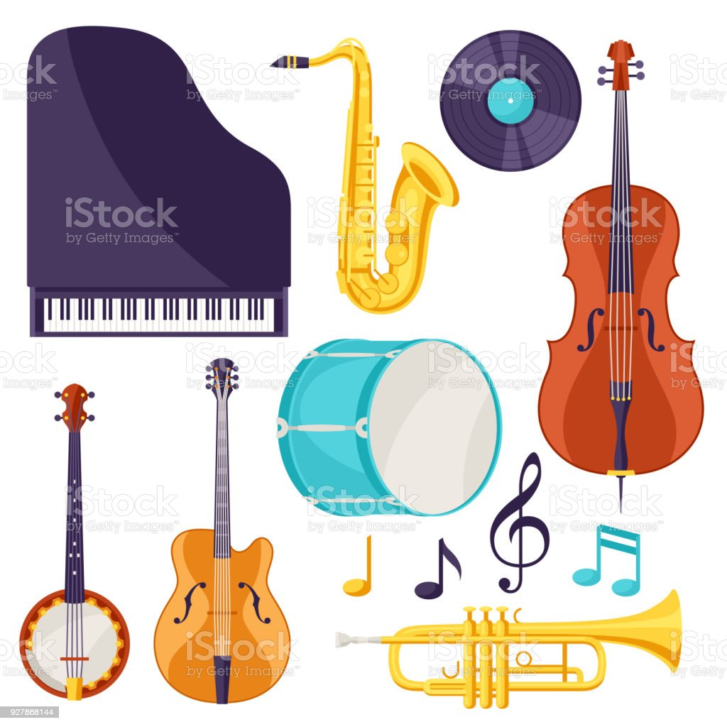 Set of musical instruments. Jazz, blues and classical music vector art illustration