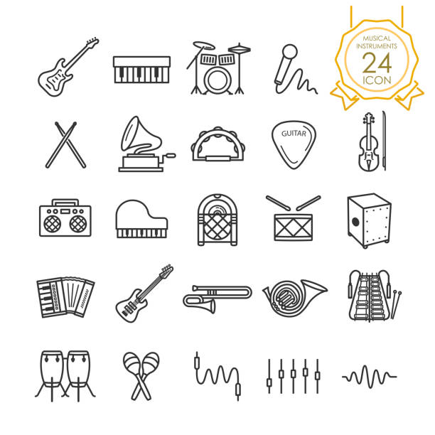 stockillustraties, clipart, cartoons en iconen met set muziekinstrumenten lijn icoon op een witte achtergrond, vectorillustratie - drum