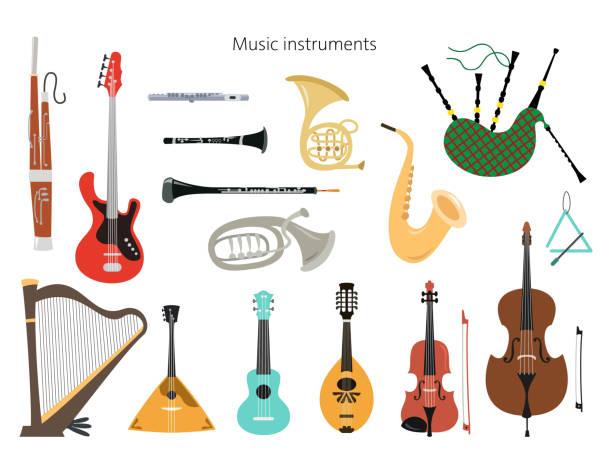 set of musical instruments on the white background. - klarnet stock illustrations