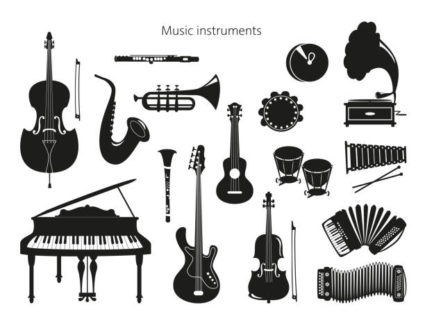 set of musical instruments on the white background. - akordeon instrument stock illustrations