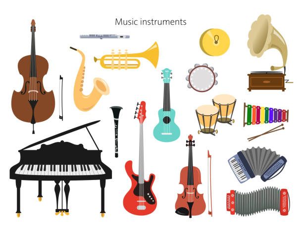 set of musical instruments on the white background. - instrument perkusyjny stock illustrations