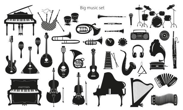 bildbanksillustrationer, clip art samt tecknat material och ikoner med uppsättning av musik instrument på den vita bakgrunden. - orkester
