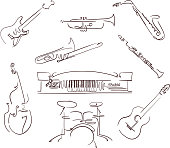 set of musical instruments symbols in line art style. vector