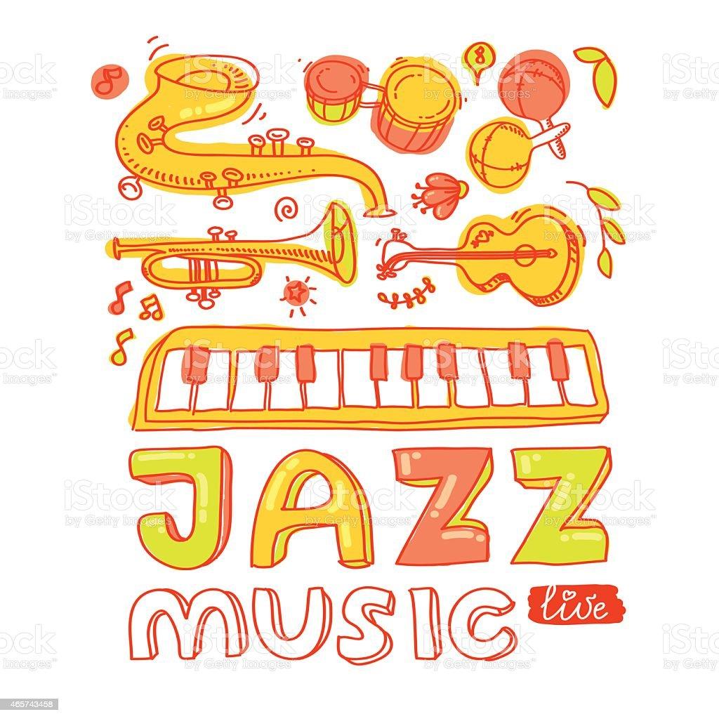 Set of musical instruments vector art illustration