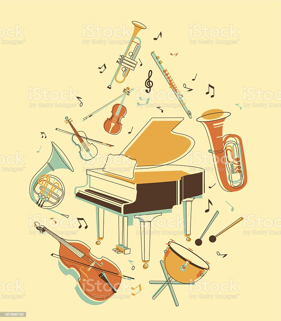Set of musical instruments vector art illustration