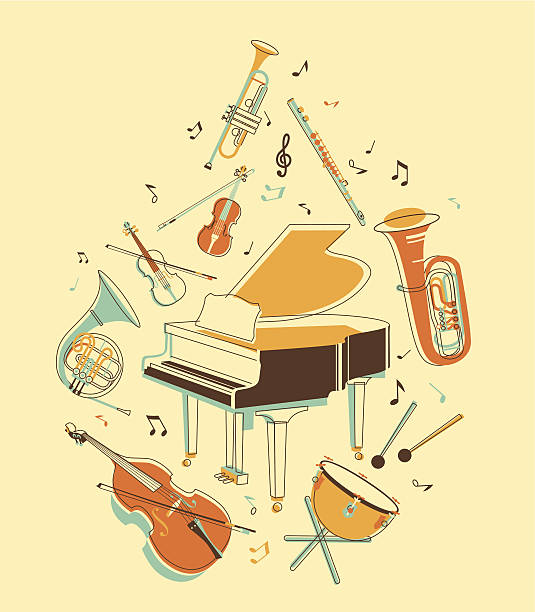 bildbanksillustrationer, clip art samt tecknat material och ikoner med set of musical instruments - flöjt