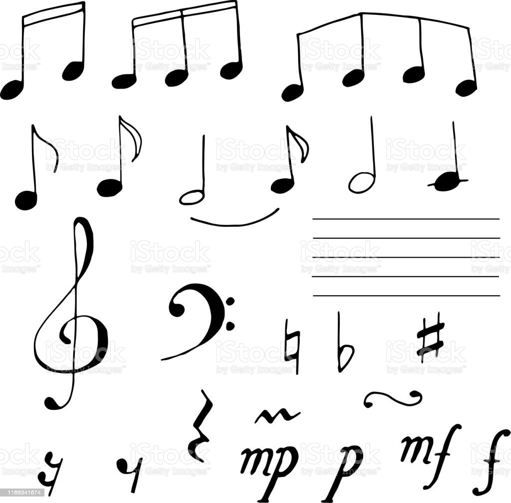 Set Of Musical Notes Signs Doodle Sketch Hand Draw Notes Stock Illustration Download Image Now Istock